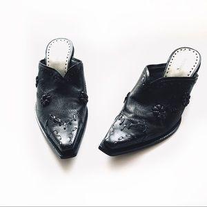 BCBGirls Black Western/Cowboy Style Slip on Mules